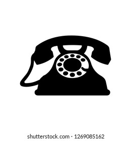 Old telphone in cmic style. Vector vintage illustration