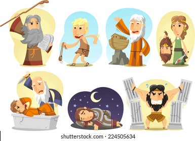 Old Testament, torah or jewish bible,  main characters featuring Samson, Noah, Moses, Judith, David, Joseph and Abraham. Vector cartoon illustrations