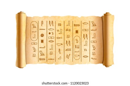 Old textured wide papyrus scroll with ancient egypt hieroglyphics isolated on white