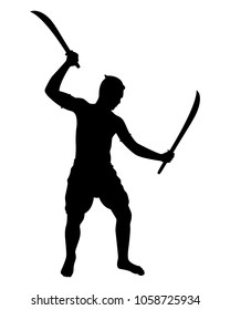 Old thai fighter with swords silhouette vector