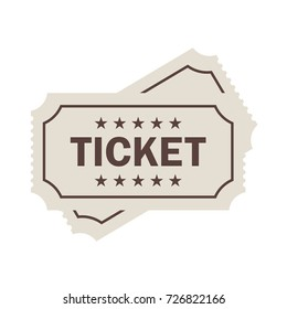 Old ticket vector pictogram isolated on white background