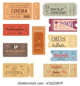 Old tickets for movie hall and theater, cinema and rock concert, circus and theatre, entertainment and performance passes on paper with numbers. Premiere and festival label, show or film coupon