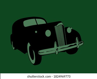 Old time, old car. Stylized drawing of a retro car. Vector image for illustrations.