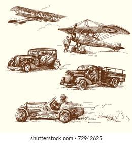 old times vehicle-original handmade drawing