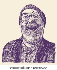 Old Toothless Grandfather In Round Glasses with a moustaches and gray beard. Happy, enthusiastic and surprised. retro engraving style. vector illustration.