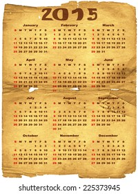 Old torn crumpled paper with calendar for 2015 (vector eps 10)