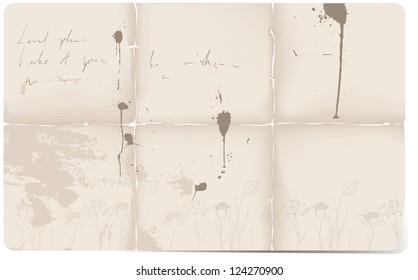 Old torn paper with ink splatters background