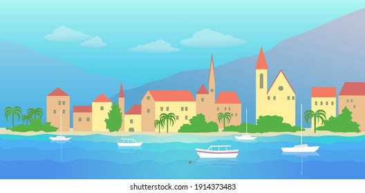 Old town with buildings, palm trees on the sea coast with yacht. Vector colorful illustration in flat style.