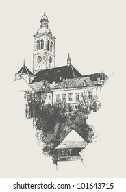 Old Town, Kutna Gora, Czech Republic. sketch style, vector illustration.