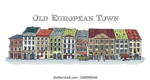 Old Town, Lviv, Rynok Square. Facades of the European city. Cute colored houses isolated on white background. Bright vector illustration.