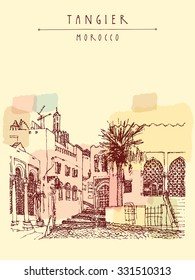 Old town (Medina) in Tangier, Morocco, Northern Africa. Mosque, palm tree. Travel sketch. Vertical vintage hand drawn postcard. Vector illustration