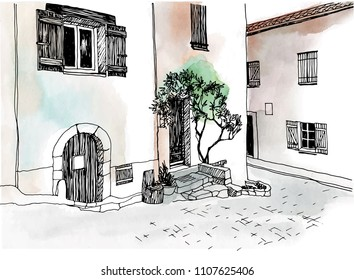 Old town street in hand drawn sketch style. Vector illustration. Small European city. France. Urban landscape on watercolor colorful background