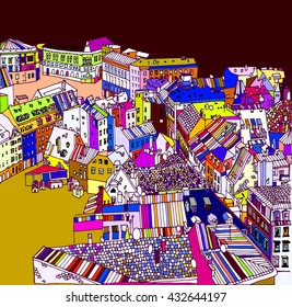 Old town, street, house, roof, road, lane, Europe, London, Paris, Berlin, sketch art, vector illustration, urban landscape