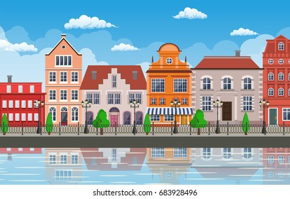 old town village main street a European city. City landscape. Life style. Vector illustration in flat style