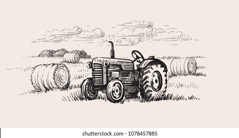 old tractor with a rural scene. Vector hand drawn