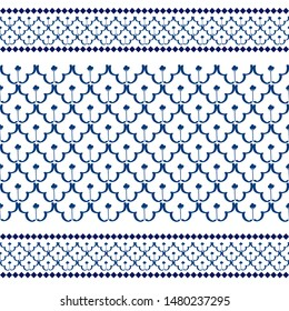 old traditional chinaware porcelain pattern vector in blue tone for printing on tile, fabric, ceramic and porcelain