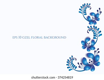 Old traditional gzel blue and ornament placed at right side. Vector Oriental background.
