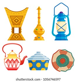 old traditional heritage icons in Arab gulf countries ( United Arab Emirates UAE  Saudi Arabia , Qatar  Bahrain , Kuwait  and Oman )  Ramadan kareem isolated vector illustration