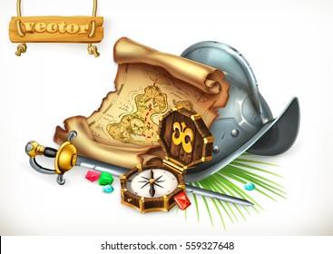 Old treasure map and conquistador helmet. Adventure, 3d vector illustration