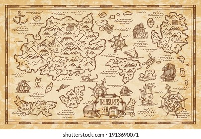 Old treasure map of pirate vector sketch with islands of Caribbean Sea, vintage nautical compass, pirate ships. Anchors, antique parchment, treasure chests and fantasy ocean monsters, adventure design