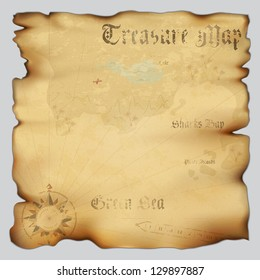 Old treasure map with wind rose compass. Highly detailed vector. Illustration contains gradient mesh