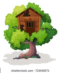 Old treehouse on the tree illustration
