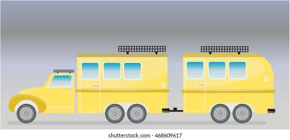 Old truck and Camping Caravan car  Vector Illustration
