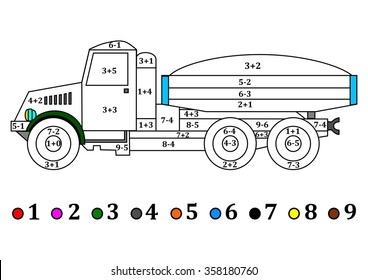 Old truck with the numerical examples for little kids - coloring book - vector