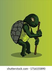 Old Turtle, cartoon illustration | Vector art for children's book