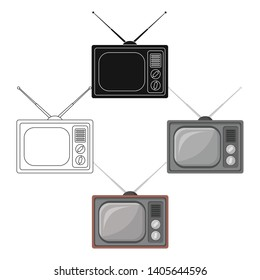 Old TV.Old age single icon in cartoon,black style vector symbol stock illustration web.