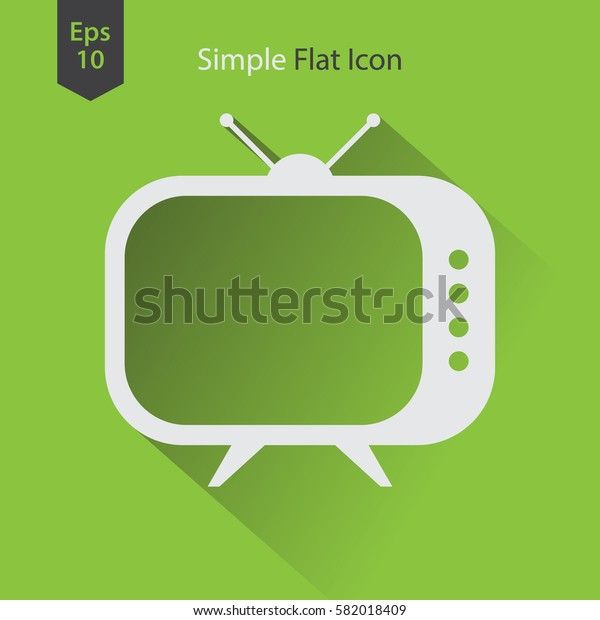 Old TV Flat Icon. Simple Symbol Of Television. Vector Illustrated Sign