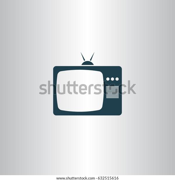 Old TV icon. Flat design style. Stock vector illustration