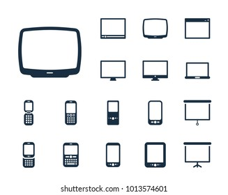 Old TV icon in set on the white background. Set of thin, linear and modern electronic equipment icons. Universal linear icons to use in web and mobile app