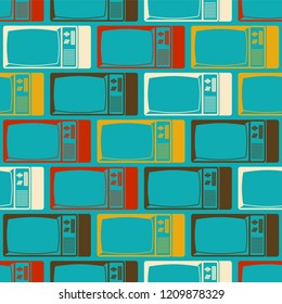 Old TV pattern seamless. Television set retro ornament