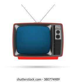 Old TV with a red body and a blue screen, with a rotary channel switch handle, an antenna, isolated on a white background.
