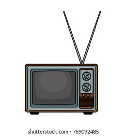 Old tv technology pop art icon vector illustration graphic