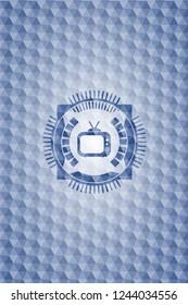 old tv, television icon inside blue polygonal emblem.