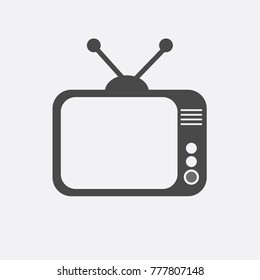 old TV television set vector