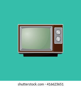 old tv television single isolated vector graphic illustration