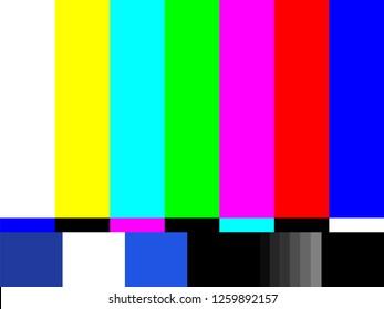 Old tv test screen. Retro no channel signal screensaver.