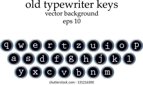 old typewriter keys with all alphabet symbols