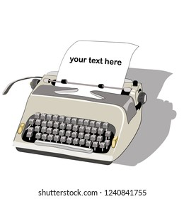 Old typewriter with paper and text. Vector illustration on white background