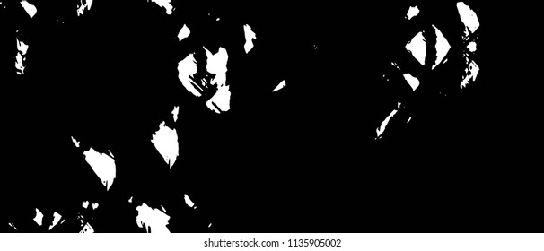Old Ultrawide Grunge Seamless Black And White Texture. Dark Weathered Overlay Pattern Sample. Widescreen Background