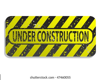 old under construction sign on white