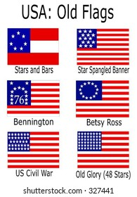 Old USA Flags: Stars and Bars, Star Spangled Banner, Bennington, Betsy Ross, US Civil War, Old Glory