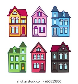Old Victorian houses, vector illustration set. Colorful hand drawn architecture elements.