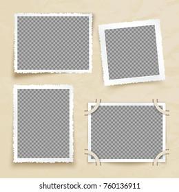 Old victorian image frames. Vintage photo borders vector set. Frame photo card for gallery and album illustration