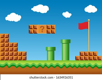 Old video game arcade retro style Background vector eps 10
