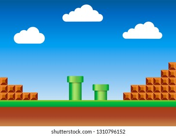 Old video game. retro style Background. Vector illustration. Eps 10
