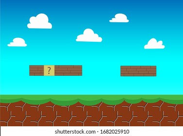 Old video game, retro style Background, Arcade brick style vector illustration